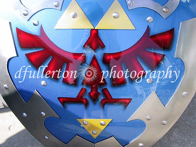 "The Photographer's Hylian Shield based on the popular videogame ""The Legend of Zelda: Ocarina of Time"", Photographed in 2003."