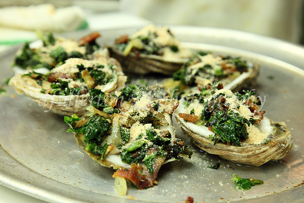 Photo of West Beach Grille's Oyster Appetizers before baking.  Fresh from the gulf!  3-8-10 to 3-10-10