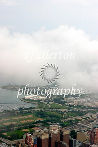 View from the famous Sears Tower of Chicago photographed during heavy fog.  Photograph taken 8-20-07.