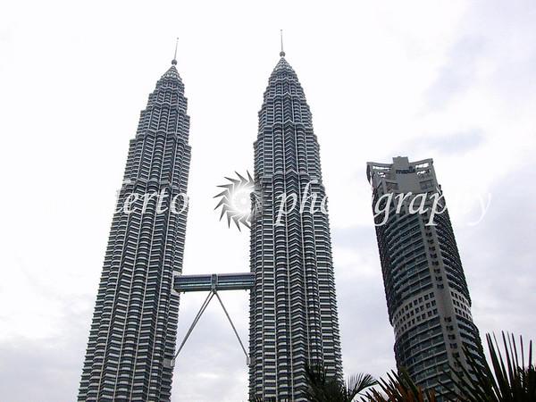 The Petronas Towers in Kuala Lumpur, Malaysia.  Taken July 1st, 2001.