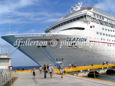 The Carnival Elation funship docked in the port of Cozumel during our Mexico vacation, 2005.
