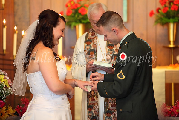 A cheerful exchanging of rings was performed during the ceremony...