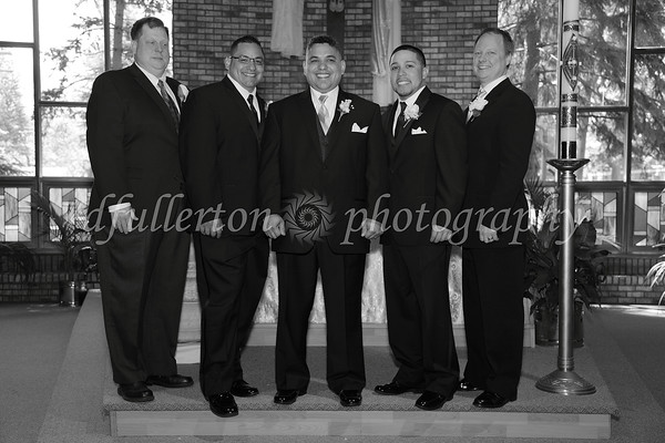 The Groomsmen and Oscar shared a few shots together after the ceremony as well.