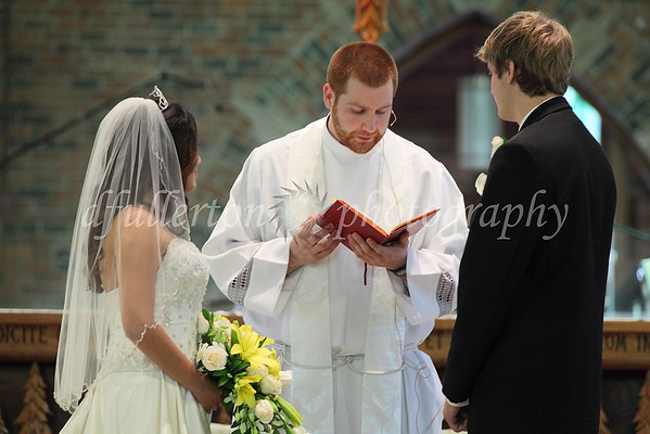 The traditional exchanging of vows and rings was performed during the ceremony.