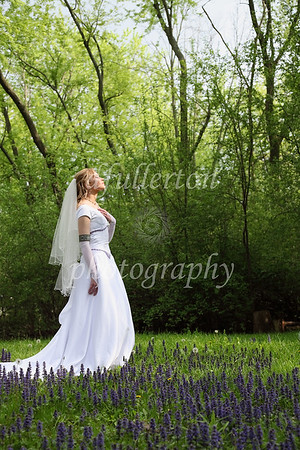 The land by Arielle's home had secluded forest and many purple flowers with which to shoot near on the day of her wedding.