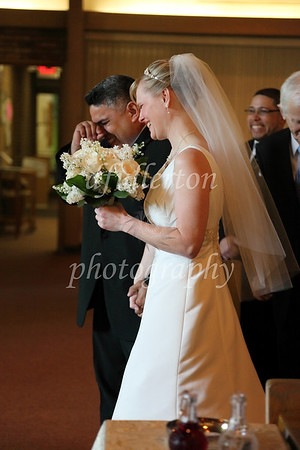 Oscar tried to keep composure as he and Sarah approached the altar on 5-21-11.