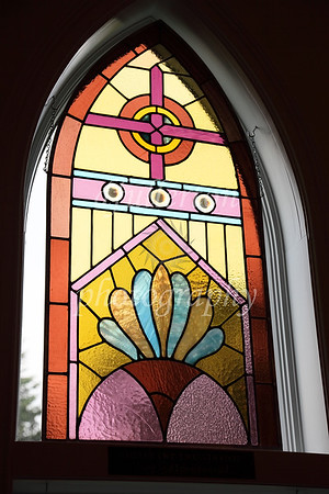 One of the original stained glass windows that had been kept intact from the original 1890's structure.  The bulk of the chapel - in fact the building itself, had been moved to its current site and greatly restored since over a century ago.