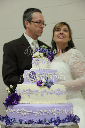 Marc and Rebecca before they cut their cake during the reception.