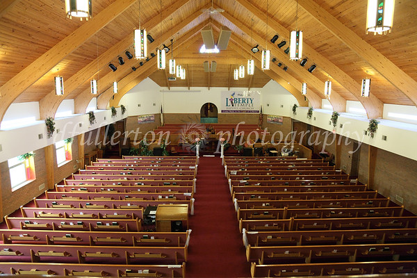 The great and beautifully-arched interior of Liberty Temple Baptist Church in Detroit was the setting for Brittney and Robert's vows.  8-14-10