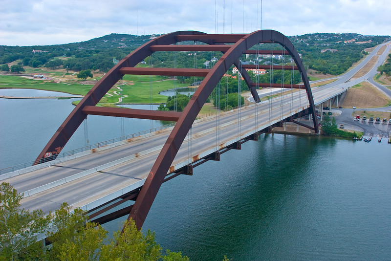 Photo of Pennybacker Bridge over Lake Austin, connecting North and South Loop 360 Highway