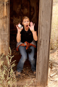 Shannon, caught in that really small room called an outhouse...  Who says my students don't have creativity?  Photo by Diane Mills.