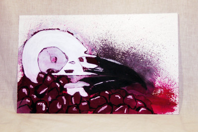 Fruit of Death: Higgins Inks/Mx Dyes/Pomagranate Juice/water on paper