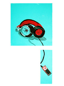 Headphones_Ipod: Pastels on paper