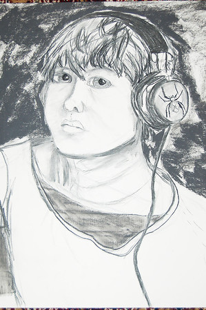 Self Portrait: Charcoal on paper