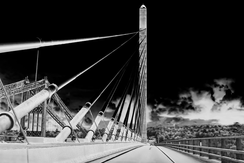 Penobscot Narrows Bridge in Infrared