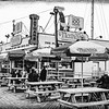Nathans Famous Frankfurters On The Coney Island Boardwalk Black and White