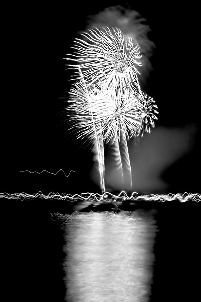 Fireworks in Black and White