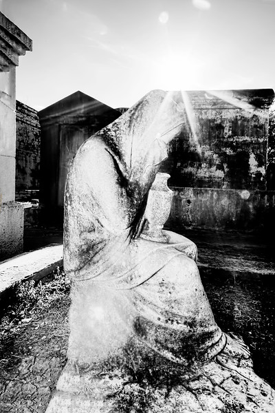Statue Of Weeping Woman, Lafayette Cemetery, New Orleans in Black and White