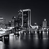 St Johns River Skyline By Night, Jacksonville, Florida In Black And White