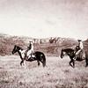 Old Timey Horse People Walking Across the Range