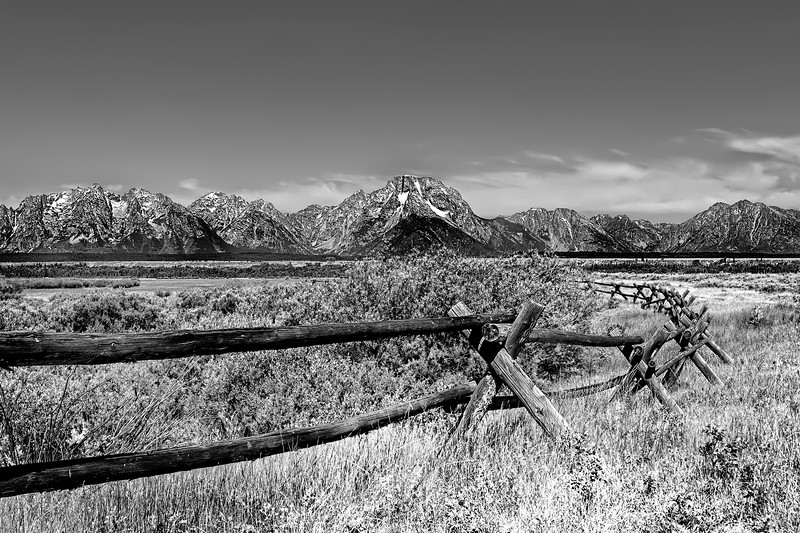 The Grand Tetons in Wyoming in Black and White