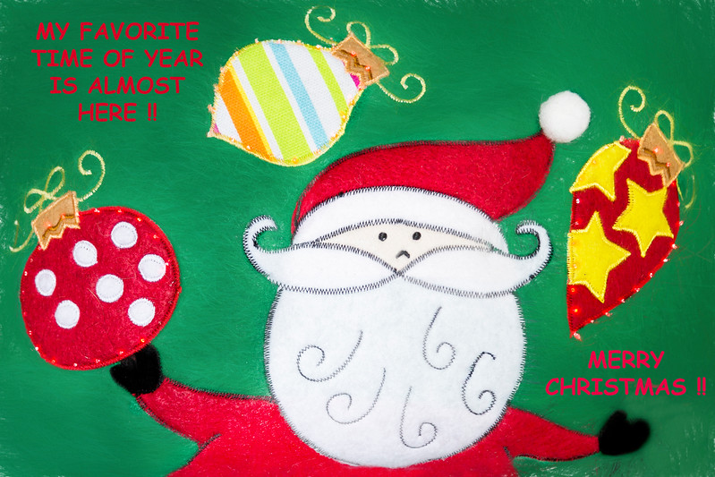 Santa Merry Christmas Card With Text