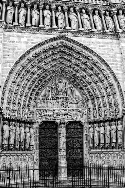 Portal Of Last Judgment, Notre Dame, Paris in Black and White