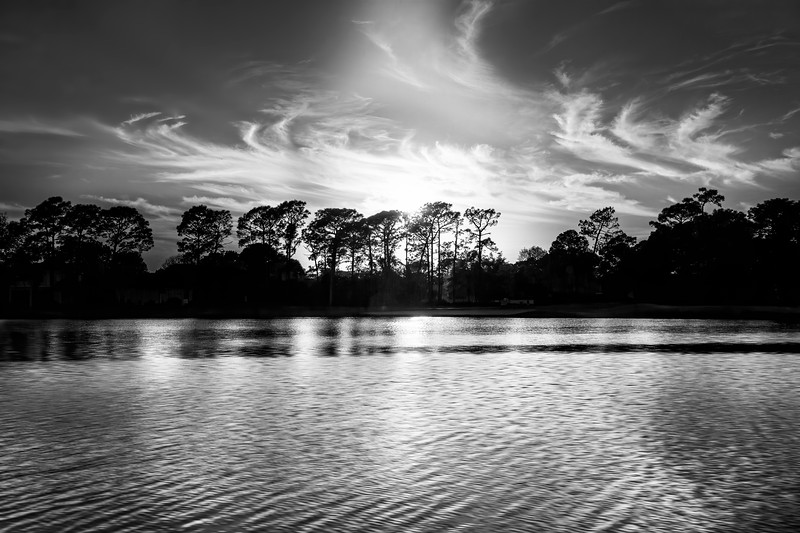 Lake Sunset in Black and White