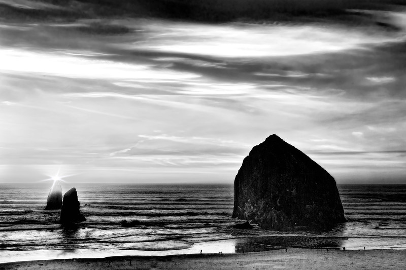 Haystack Rock Sunset in Black and White, Cannon Beach, Oregon