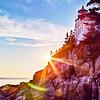 Ocean Sunset on Maine's Bass Harbor Lighthouse