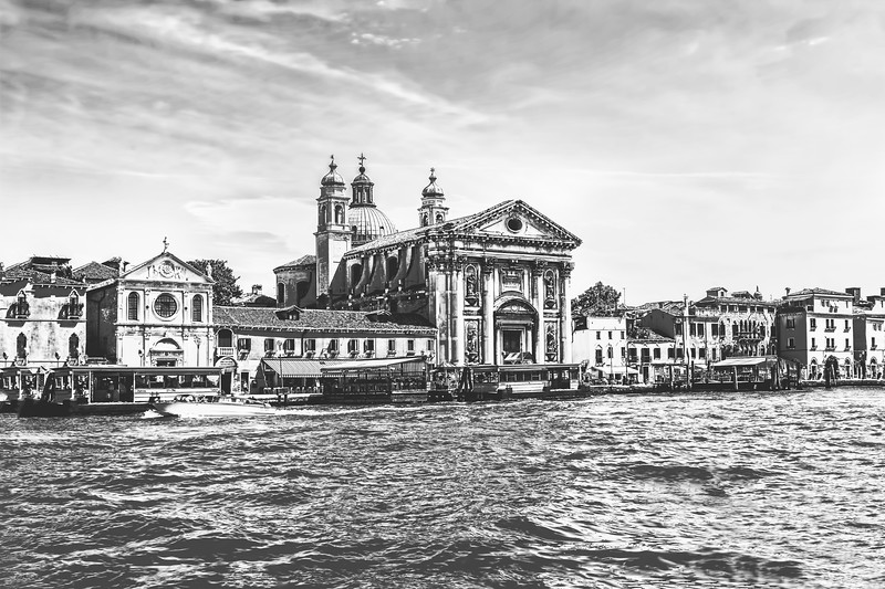 Going Down the Grand Canal of Venice in Black and White