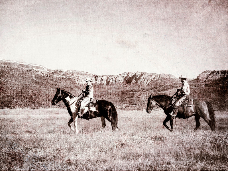 Old Timey Horse People Walking Across the Range