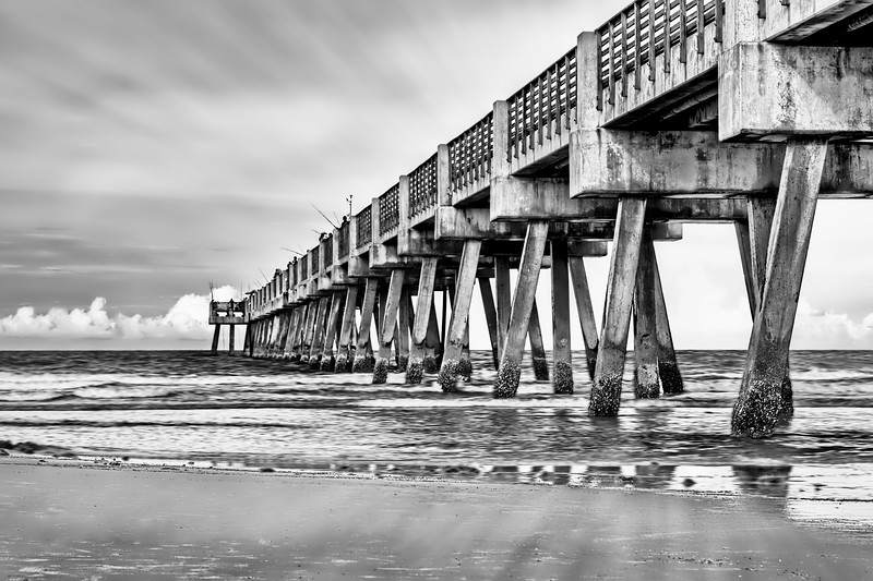 Jacksonville Pier in Black and White
