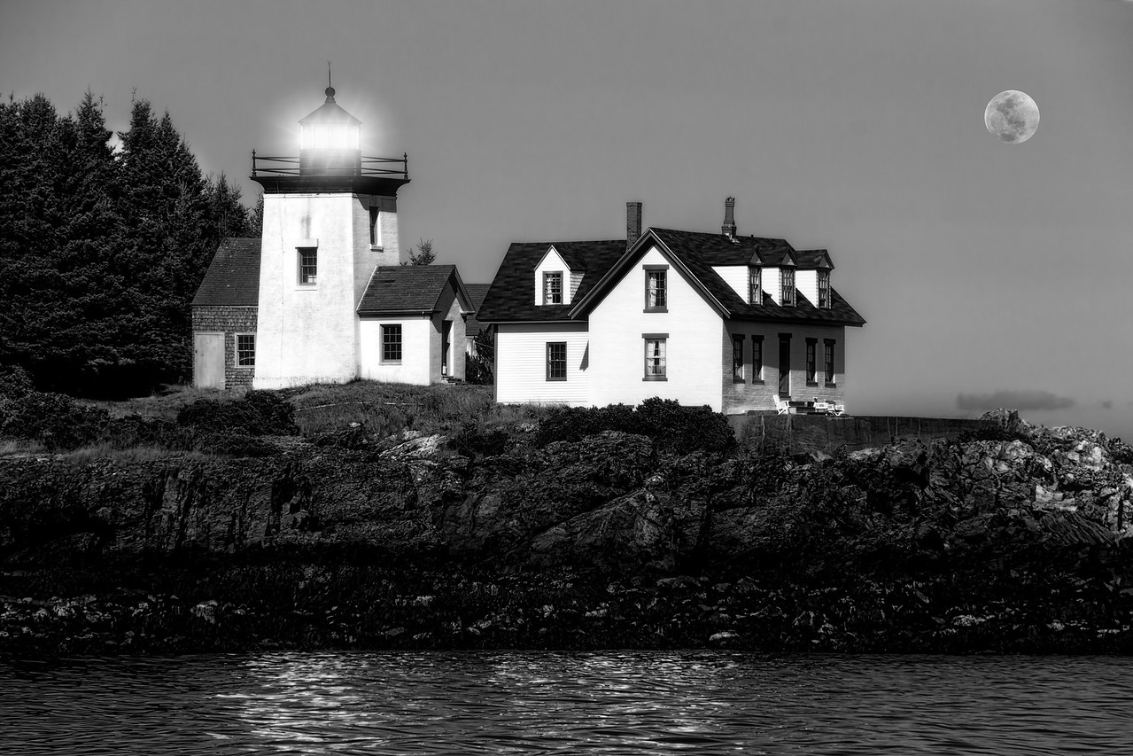 Nighttime Lighthouse in Maine in Black and White