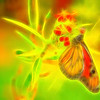Sketch Effect Glowing Monarch Butterfly Abstract