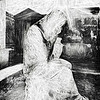 Statue Of Weeping Woman, Lafayette Cemetery, New Orleans in Black and White Sketch