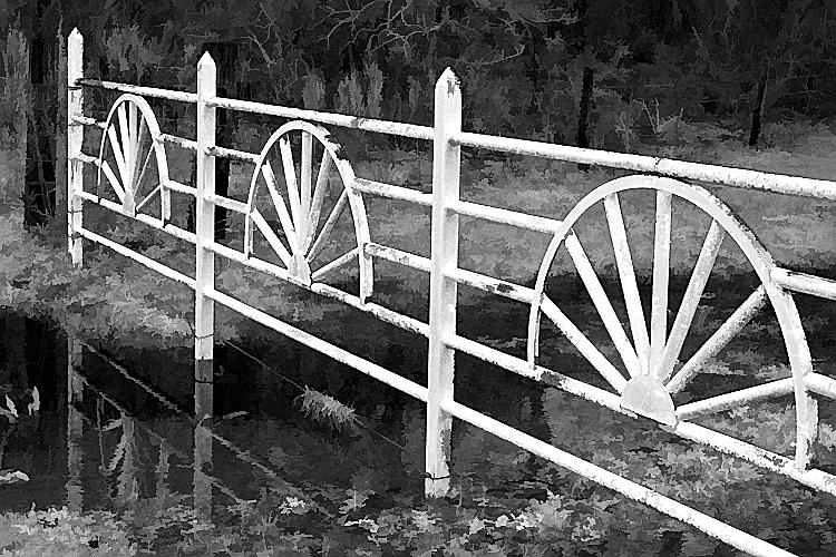 TX 2004 Rusting fence along FM1488 in B&W