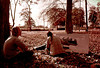 1974 TX Conroe River Plantation covered bridge and artists