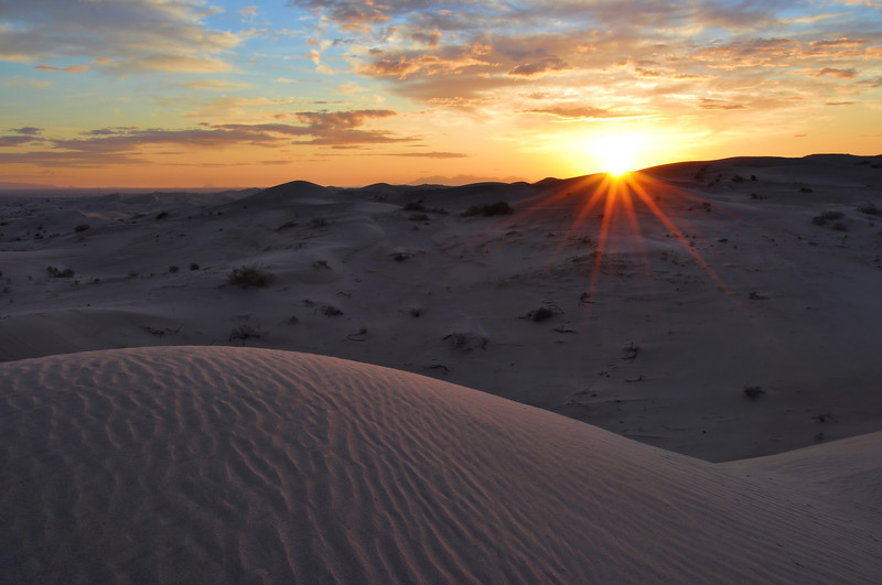 Sunrise in the Imperial Dunes Glamis, California.  Copyright © 2010 All rights reserved.