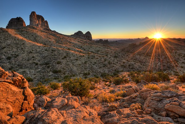 Castle Peaks Sunrise Mojave National Preserve, California.  Copyright © 2012 All rights reserved
