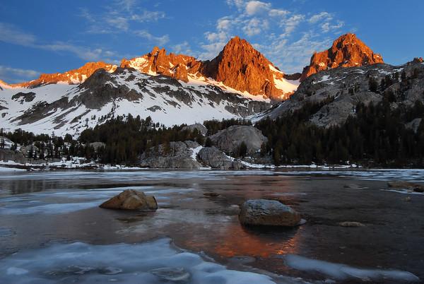 Mount Ritter and Banner Peak and Frozen Lake Ediza.  Sierra Nevada Range, California.