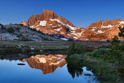 Banner Peak Reflected in a Tarn Near Thousand Island Lake.  Sierra Nevada Range, California.