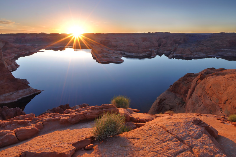 Sunrise Over Lake Powell Near Hole-in-the-Rock.  Glen Canyon National Recreation Area, Utah.