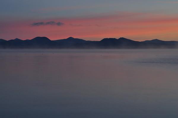Mono Lake (Morning Hue and Rising Mist).  Mono Lake, California.  Copyright © 2009 All rights reserved.