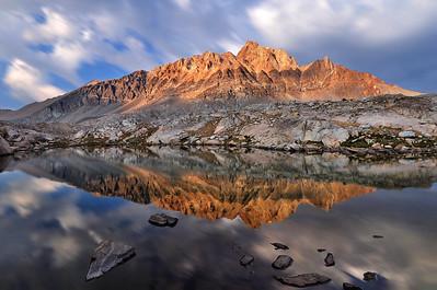 Mount Humphreys Reflected in One of the Humphreys Lakes.  Sierra Nevada Range, California.