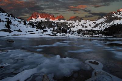Frozen Lake Ediza and the Minarets (morning).  Sierra Nevada Range, California.