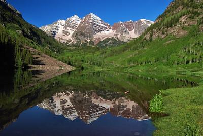Maroon Bells Reflection.  Near Aspen, Colorado.