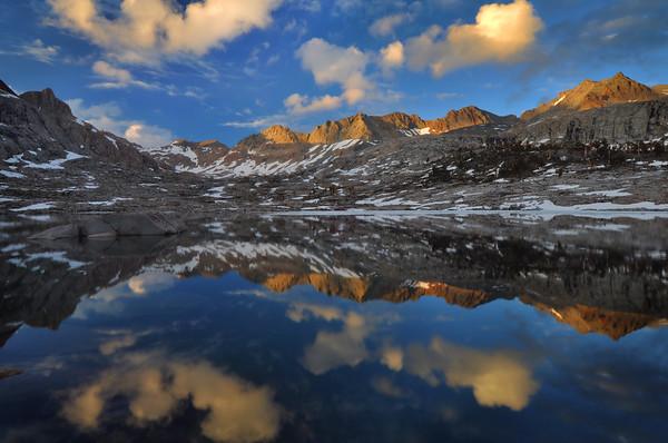 Evening Reflections in the Nine Lake Basin.  Sierra Nevada Range, California.