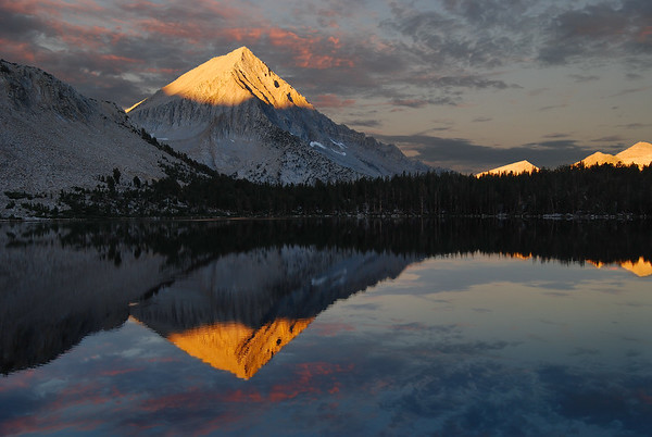 Arrow Peak Reflection in Bench Lake (Morning).  Sierra Nevada Range, California.  Copyright © 2007 All rights reserved.