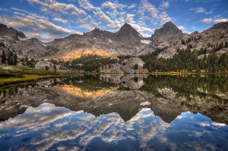 Banner and Ritter Reflected in Lake Ediza Inyo National Forest, California.  Copyright © 2012 All rights reserved.